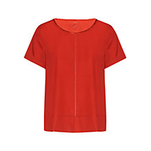 Buy Marc Cain Stitch Detail Silk Satin Dress, Red Ochre Online at johnlewis.com