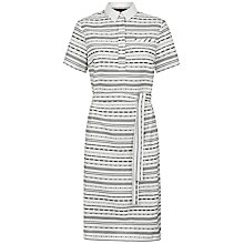 Buy Jaeger Embroidery Striped Shirt, Black/Ivory Online at johnlewis.com