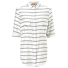 Buy BOSS Orange Emilitye Stripe Shirt, White/Black Online at johnlewis.com