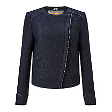 Buy BOSS Orange Obeiky Tweed Biker Jacket, Navy Online at johnlewis.com