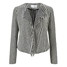 Buy BOSS Korelia Herringbone Tweed Fringe Jacket, Black/White Online at johnlewis.com
