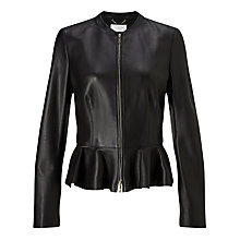 Buy BOSS Safisse Leather Jacket, Black Online at johnlewis.com