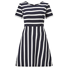 Buy BOSS Orange Amody Stripe Fit And Flare Dress, Navy Online at johnlewis.com