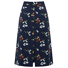 Buy Warehouse Spaced Floral Midi Skirt, Navy Online at johnlewis.com