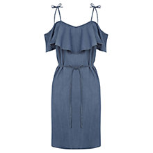 Buy Oasis Ruffle Frill Dress, Denim Online at johnlewis.com