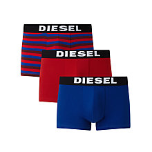 Buy Diesel Shawn Stripe Plain Trunks, Pack of 3, Red/Blue Online at johnlewis.com
