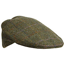 Buy Olney Herringbone Check Wool Flat Cap, Green Online at johnlewis.com