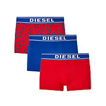 Buy Diesel Shawn Star Print Plain Trunks, Pack of 3, Red/Blue Online at johnlewis.com