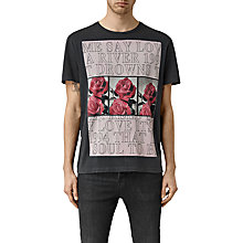 Buy AllSaints Drown Graphic T-Shirt, Vintage Black Online at johnlewis.com