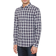 Buy Original Penguin P55 Yarn Dye Check Slim Fit Shirt, Medieval Blue Online at johnlewis.com
