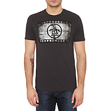Buy Original Penguin Film Reel Pete T-Shirt, True Black Online at johnlewis.com