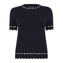 Buy Oasis Cute Tipped Short Sleeve Top, Navy Online at johnlewis.com