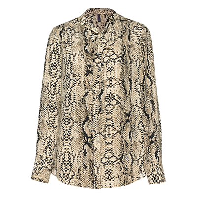 NYDJ Animal Print Tie Neck Top, Cream