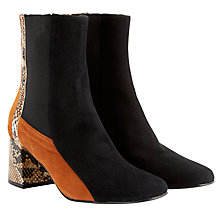 Buy Finery Clarissa Block Heeled Ankle Boots, Black Snake Online at johnlewis.com