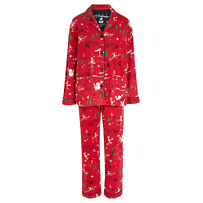 PJ Salvage Skiing Fox Flannel Pyjamas, Brick/Multi
