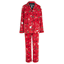 Buy PJ Salvage Skiing Fox Flannel Pyjamas, Brick/Multi Online at johnlewis.com
