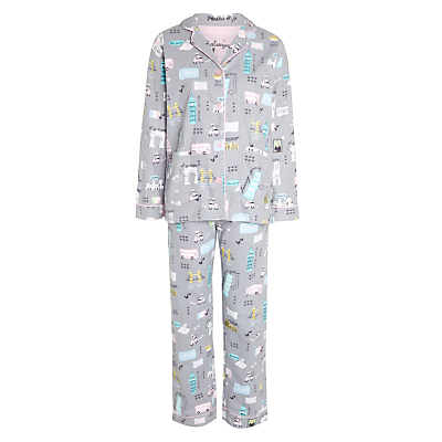 PJ Salvage Vacation Flannel Pyjama Set, Grey/Multi