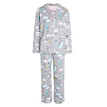Buy PJ Salvage Vacation Flannel Pyjama Set, Grey/Multi Online at johnlewis.com