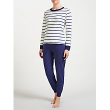 Buy John Lewis Breton Stripe Jersey Pyjama Set, Navy/Ivory Online at johnlewis.com