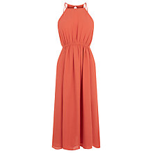 Buy Warehouse Empire Channel Midi Dress, Coral Online at johnlewis.com
