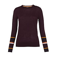 Buy Whistles Hayden Stripe Cuff Knit, Burgundy Online at johnlewis.com