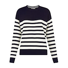 Buy Whistles Slouchy Breton Jumper, Navy Online at johnlewis.com