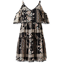 Buy Miss Selfridge Pom Pom Cold Shoulder Dress, Multi Online at johnlewis.com