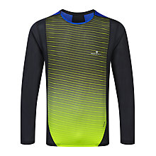 Buy Ronhill Vizion Crew Neck Long Sleeve Running T-Shirt, Black/Yellow Online at johnlewis.com