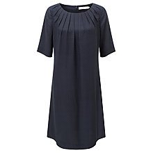Buy John Lewis Silk Pleat Neck Pin Dot Dress, Navy Online at johnlewis.com