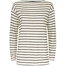 Buy Jaeger Linen Slouchy Breton Top, Ivory/Black Online at johnlewis.com