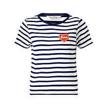 Buy Miss Selfridge Petites Stripe Love T-Shirt, White Online at johnlewis.com