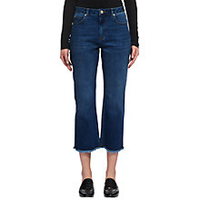Buy Whistles Raw Hem Cropped Wide Leg Jeans, Denim Online at johnlewis.com