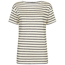 Buy Jaeger Linen Breton Stripe T-Shirt, Ivory/Navy Online at johnlewis.com