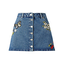 Buy Miss Selfridge Petites Denim Badge Mini Skirt, Blue Online at johnlewis.com