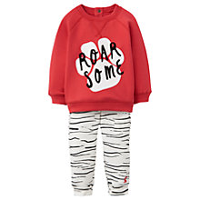 Buy Baby Joule Roarsome Trousers and Sweatshirt Set, Cream/Red Online at johnlewis.com