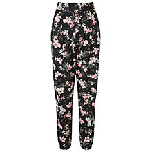 Buy Miss Selfridge Floral Print Joggers, Black Online at johnlewis.com