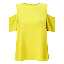 Buy Miss Selfridge Cold Shoulder Top, Chartreuse Online at johnlewis.com
