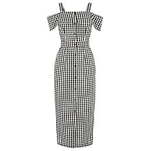 Buy Warehouse Gingham Off Shoulder Dress, Black Pattern Online at johnlewis.com