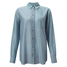 Buy Jigsaw Micro Spot Voile Shirt, Pitch Blue Online at johnlewis.com