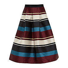 Buy Ted Baker Majida Antique Stripe Full Midi Skirt, Black Online at johnlewis.com