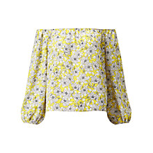Buy Miss Selfridge Floral Bardot Top, Black/Chartreuse Online at johnlewis.com