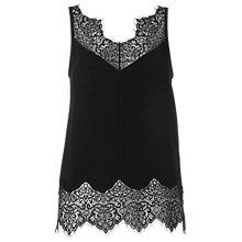 Buy Whistles Milandra Lace Trim Cami, Black Online at johnlewis.com