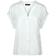 Buy Jaeger Pleated Cuff Detail Blouse, Blue Online at johnlewis.com