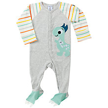 Buy Polarn O. Pyret Baby Dino Sleepsuit, Grey Online at johnlewis.com