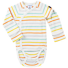 Buy Polarn O. Pyret Baby Striped Bodysuit, White Online at johnlewis.com