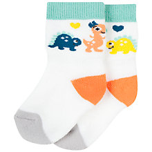 Buy Polarn O. Pyret Baby Dino Socks, White Online at johnlewis.com