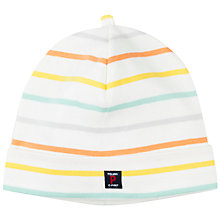 Buy Polarn O. Pyret Baby Striped Hat, White Online at johnlewis.com