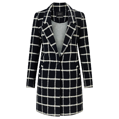 Maison Scotch Bonded Wool Check Coat, Navy
