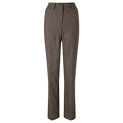 Gardeur Karen Herringbone Straight Trousers, Chocolate