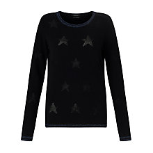 Buy Maison Scotch Star Detail Wool-Blend Jumper, Black Online at johnlewis.com